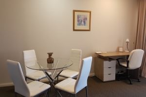 The Dining Area and Desk of Hamilton 1 Bedroom Studio.