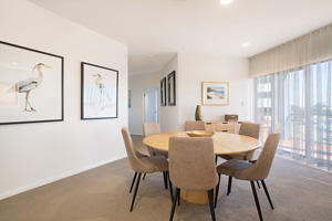 The Dining Room of the Three Bedroom Apartment at Boulevard Apartments.