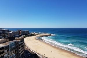 The view over Newcastle Beach from the Horizon Apartment.