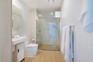The Bathroom of Horizon 1 Bedroom Apartment at Newcastle Beach.