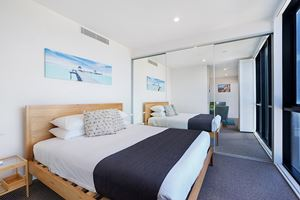 The Bedroom of Horizon 1 Bedroom Apartment at Newcastle Beach.