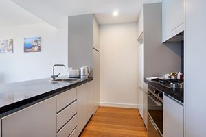 The Kitchen of Horizon 1 Bedroom Apartment at Newcastle Beach.