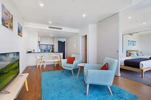 The Living Room of Horizon 1 Bedroom Apartment at Newcastle Beach.