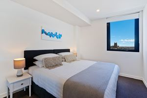 The Main Bedroom of Horizon 2 Bedroom Apartment at Newcastle Beach.