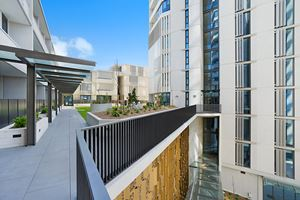 The shared terrace at Verve Apartments.