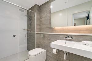 The ensuite bathroom at Verve 2 Bedroom Apartment.