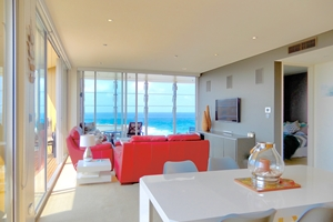 The Living Room at The York Two Bedroom Oceanview Apartment at Newcastle Beach.