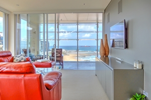 The Lounge Room at The York Two Bedroom Oceanview Apartment at Newcastle Beach.
