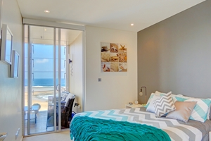 The Second Bedroom at The York Two Bedroom Oceanview Apartment at Newcastle Beach.