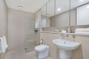 The Bathroom of the York 2 Bedroom Apartment on Newcastle Beach.
