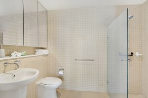 The Ensuite Bathroom of the York 2 Bedroom Apartment on Newcastle Beach.