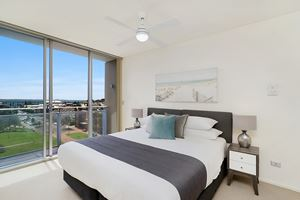The Main Bedroom of the York 2 Bedroom Apartment on Newcastle Beach.