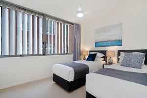 The Second Bedroom of the York 2 Bedroom Apartment on Newcastle Beach.