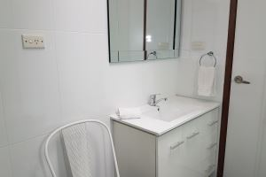 The Bathroom of a 2 Bedroom Terrace Apartment at Centennial Terrace Apartments.