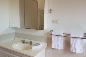 The Bathroom of the King 2 Bedroom Terrace Apartment at Centennial Terrace Apartments.