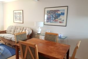 The Dining Room of a Standard 2 Bedroom Terrace Apartment at Centennial Terrace Apartments.