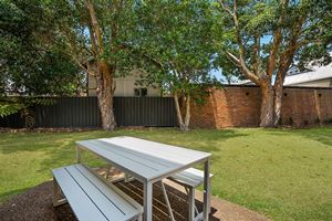 Outdoor Dining of Centennial Terrace Apartments Standard 2 Bedroom Unit.