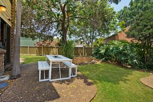 The Outdoor Dining of Centennial Terrace Apartments Superior 2 Bedroom Unit.