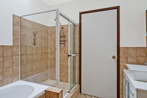 The Bathroom of Centennial Terrace Apartments Standard 2 Bedroom Unit.