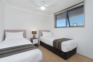The Third Bedroom of Sandbar Apartment can be configured as a King Bed or 2 Single Beds.