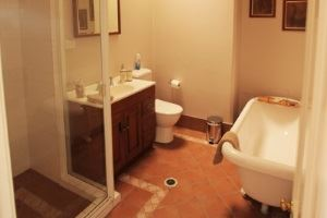The bathroom in the Vista Apartment.
